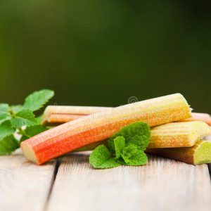 fresh-rhubarb-mint-leaves-wooden-table-fresh-rhubarb-mint-leaves-wooden-table-background-blurred-garden-159243865